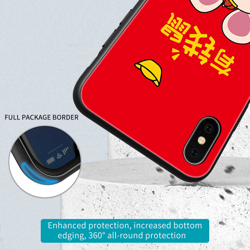 Compatible for iPhone X//XS Cases 2020 Happy Chinese New Year of Rat Cute Gold Mouse Sleep Anti Bumps Scratches