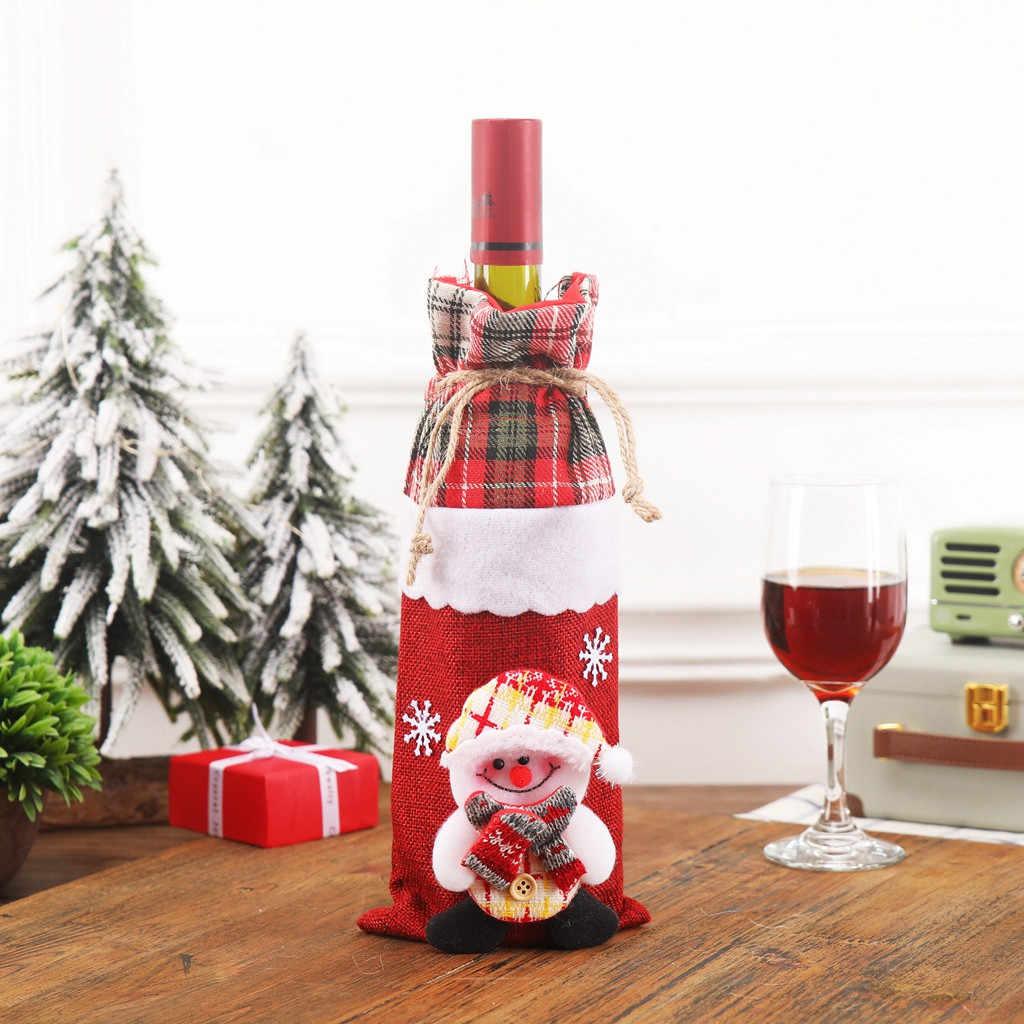Santa Claus Botol Anggur Cover Merry Natal Dekorasi untuk Rumah 2019 Ornamen Natal Navidad Natal Hadiah Tahun Baru 2020 7P