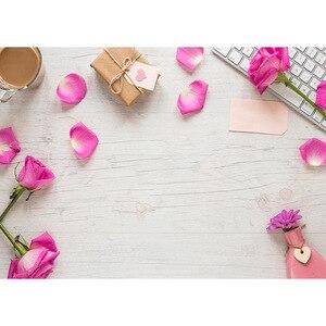 Image 2 - Petali di fiori rosa regalo tastiera sfondi fotografici sfondo di stoffa in vinile per gli amanti dei bambini fotofono di nozze di san valentino