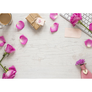 Image 2 - Pink Flower Petals Gift Keyboard Photo Backgrounds Vinyl Cloth Backdrop for Children Lovers Valentines Day Wedding Photophone