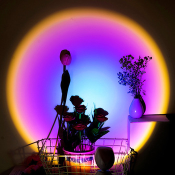 2021 Rainbow Sunset Projector Atmosphere Led Night Light Home Coffe shop Background Wall Decoration Colorful Lamp 1
