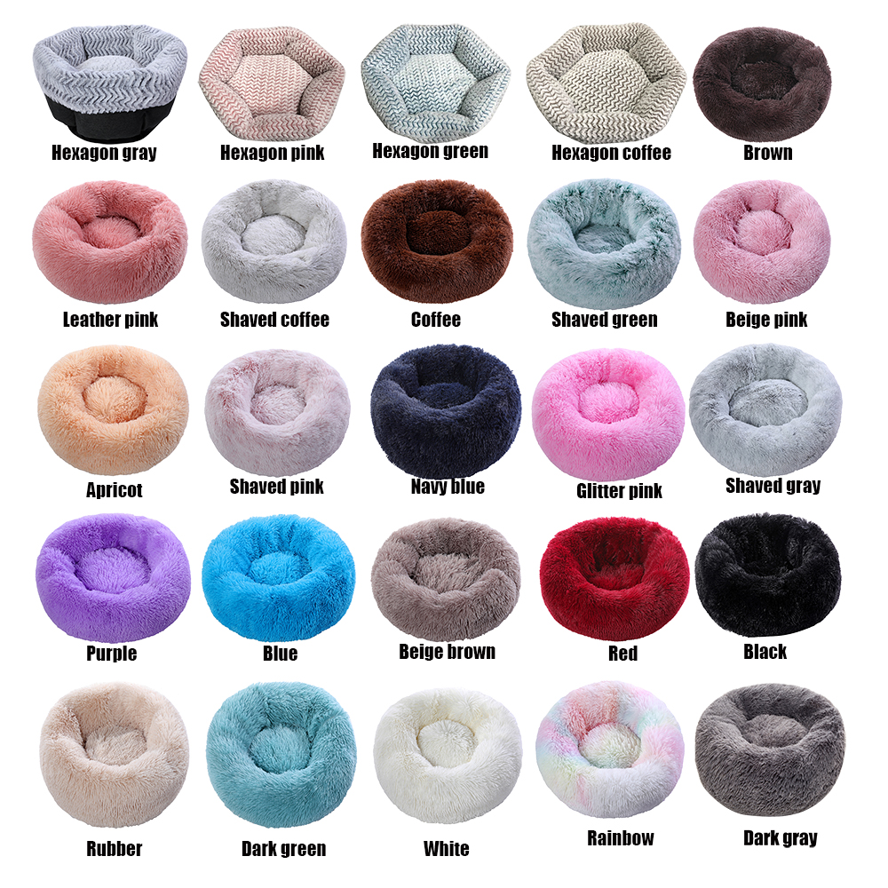 Super soft dog bed round washable plush kennel cat house velvet mat sofa dog