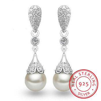 925 sterling silver Pearl Jewelry natural freshwater pearl drop earrings for women Silver Wedding Dangle Earring 925 sterling silver jewelry sets natural freshwater pearl drop earrings trendy pendant chain necklaces for women girl