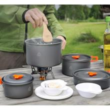 цена на Quality Outdoor Camping Cookware Set Portable Utensils 4-5 Persons Bowl Pot Spoon Tableware Cooking Tools Travel Picnic Set