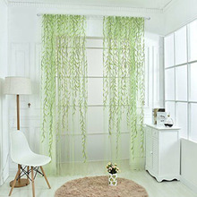 Willow Twigs Voile Sheer Door Window Curtain Drape Green Purple Wall Home Decoration 1 pc pastoral daisy door screen voile window sheer curtain blinds drape bedroom curtains backdrop christmas decorations for home wall