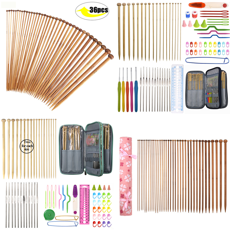 36pcs Bamboo Knitting Needles Set Mix 2.0mm To 10.0mm 25cm 35cm Straight Single Point Yarn Yarn Weave Knitting Needles Hook Kit