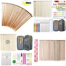 Conjunto de agulhas de bambu para tricô, 36 peças, mix de 2.0mm a 10.0mm, 25cm, 35cm, reto, único ponto kit de agulhas de malha gancho