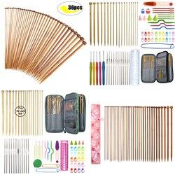 36pcs Bamboo Knitting Needles Set Mix 2.0mm to 10.0mm 25cm 35cm Straight Single Point Yarn Weave Knitting Needles Hook Kit