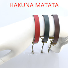 "5 Color Leather Bracelet Engraved Proverb ""HAKUNA MATATA "" Letter Birthday Gifts"