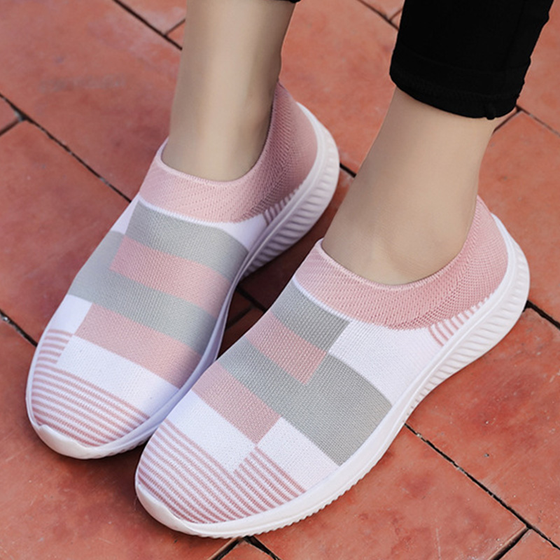 MCCKLE Women Casual Sneakers Knitted Loafers Sock Vulcanized Shoes Woman Female Stretch Flat Slip On Ladies Walking Plus Size
