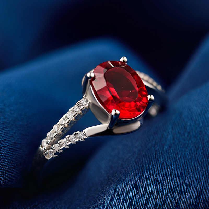 Bague Ringen เงิน 925 อัญมณี Vintage แหวน 7*5 มม.คุณภาพสูงสร้างทับทิมผู้หญิง Fine เครื่องประดับของขวัญ