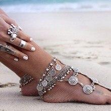 Западный стиль, Модный богемный ретро стиль, короткий ножной браслет с монеткой