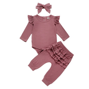 Newborn Infant Baby Girls Ruffle T-Shirt Romper Tops Leggings Pant 3Pcs Outfits Clothes Set Long Sleeve Fall Winter Clothing D20 autumn thanksgiving fall winter baby girls brown orange turkey outfits polka dot pant clothes ruffle boutique match accessories