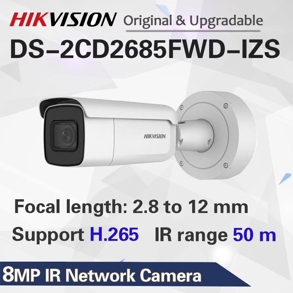 HIK переменным фокусным 2,8-12 мм пуля IP Камера DS-2CD2685FWD-IZS 8 мегапиксельная видеонаблюдения Видеокамера POE CCTV H.265 ИК 50 м