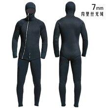 HQ 7 مللي متر ملابس الرجال spearfishing دعوى بدلة غطس بذلة الصيد والصيد الملابس الدافئة السلس جلدية مقاوم للماء