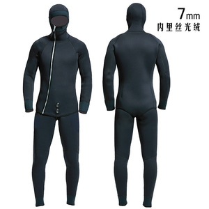 Image 1 - Hq 7 ミリメートルウェット男性スピアフィッシングスーツダイビングウェットスーツ釣りと狩猟防寒着スムースレザー防水防水