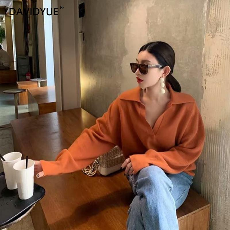 Fall 2020 sweater women pullover korean black knitted sweater vintage autumn turn-down collar yellow sweater