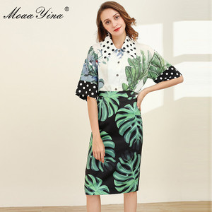 Image 3 - MoaaYina Fashion Designer Set Spring Women Half sleeve Shirt Tops+Green leaf Print Package buttocks Skirt Elegant Two piece set