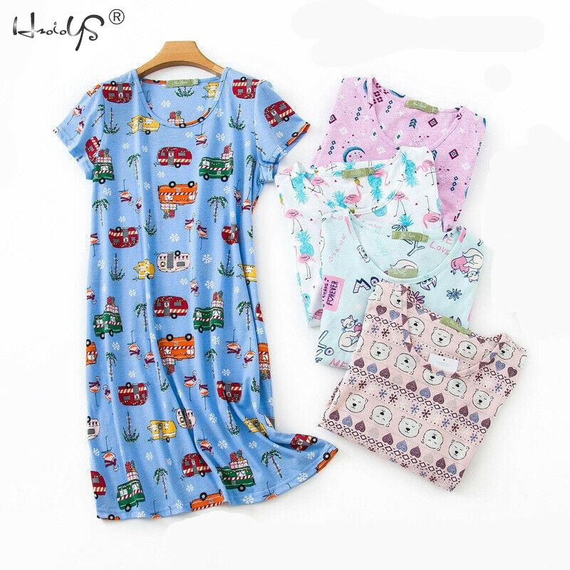 Summer Nightgowns O-neck Cotton Cartoon Women's Sleepwear Nightwear Plus Size Sleep&Lounge Nightdress Short-Sleeve Home Dress