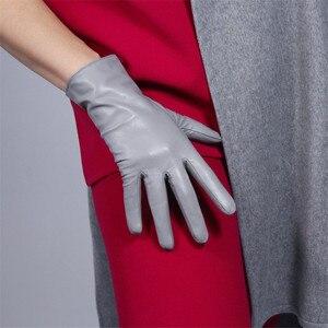 Image 4 - Touch Screen Echt Leder Handschuhe 25cm Kurze Reine Ziegenleder Importiert Weibliche Dünne Plüsch Gefüttert Ingwer Gelb Helle Gelb WZP01 2