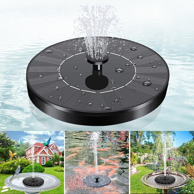 Плавающий мини-фонтан на солнечной батарее, садовый водяной фонтан, бассейн, пруд, украшение для дома, уличная ванна с птицами, фонтан с пита...