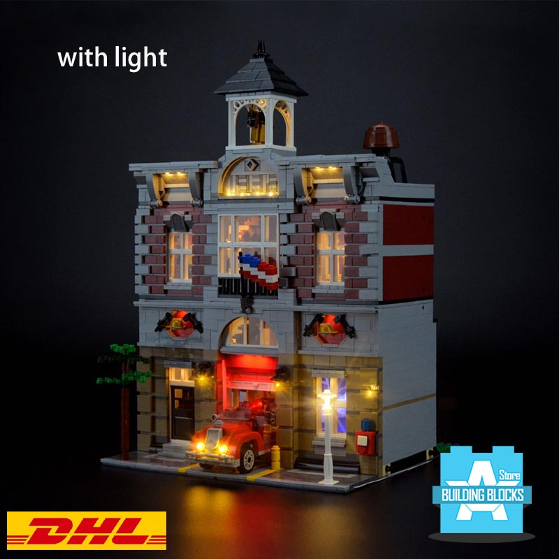 IN STOCK city Fire Brigade street view building blocks <font><b>10197</b></font> with light image