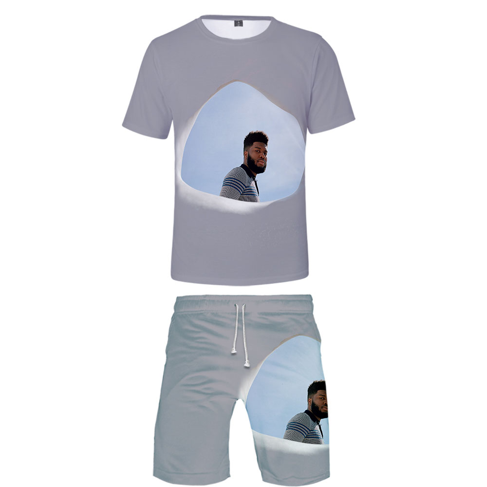 2019 KHALID Two Piece Set Tshirt And Shorts Harajuku Men KHALIDt Shirt Streetwear Harajuku Short Sleeve Plus Size Streetwear