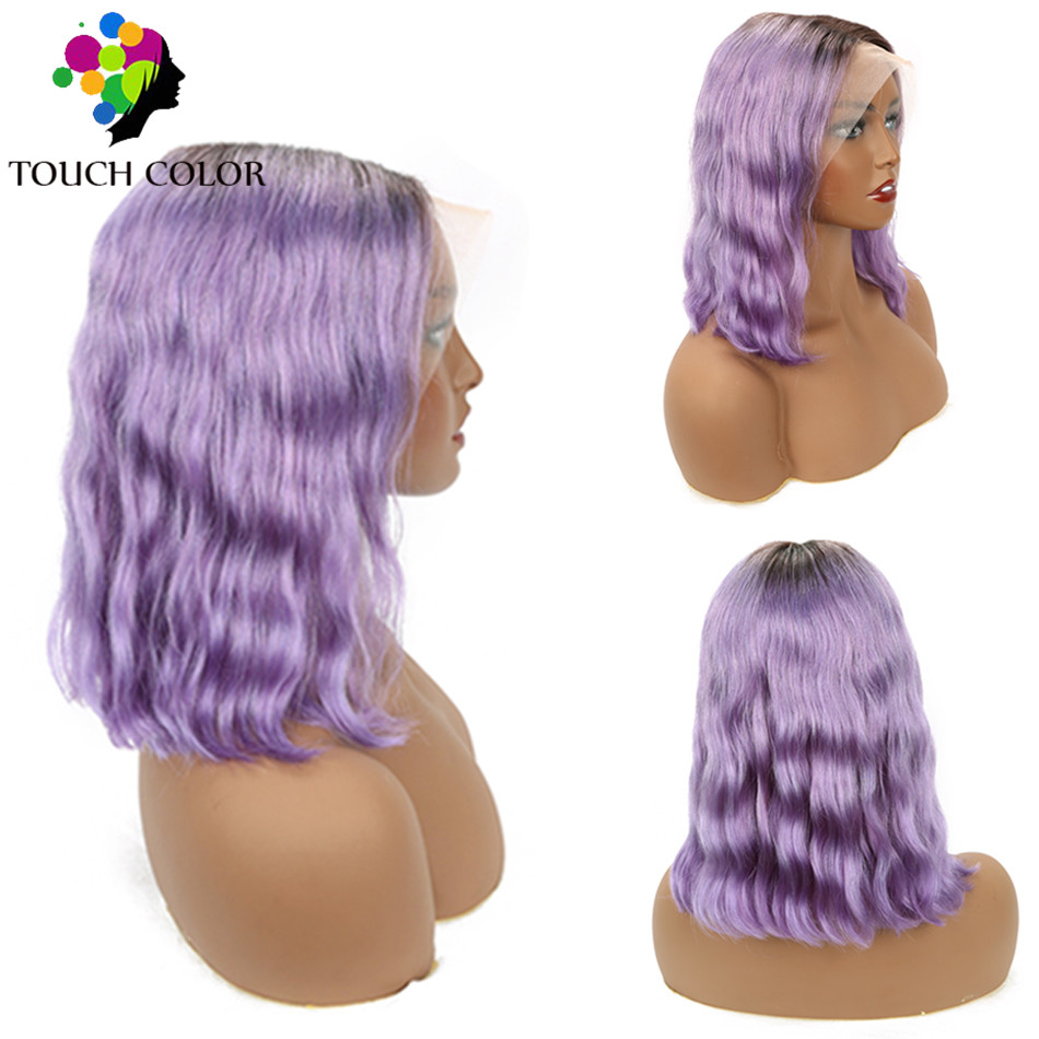 Ombre Colored Purpl Lace Frontal Wig Malaysian Body Wave Remy Human Hair Lace Frontal Wig For Women Short Bob Wig WIth Baby Hair
