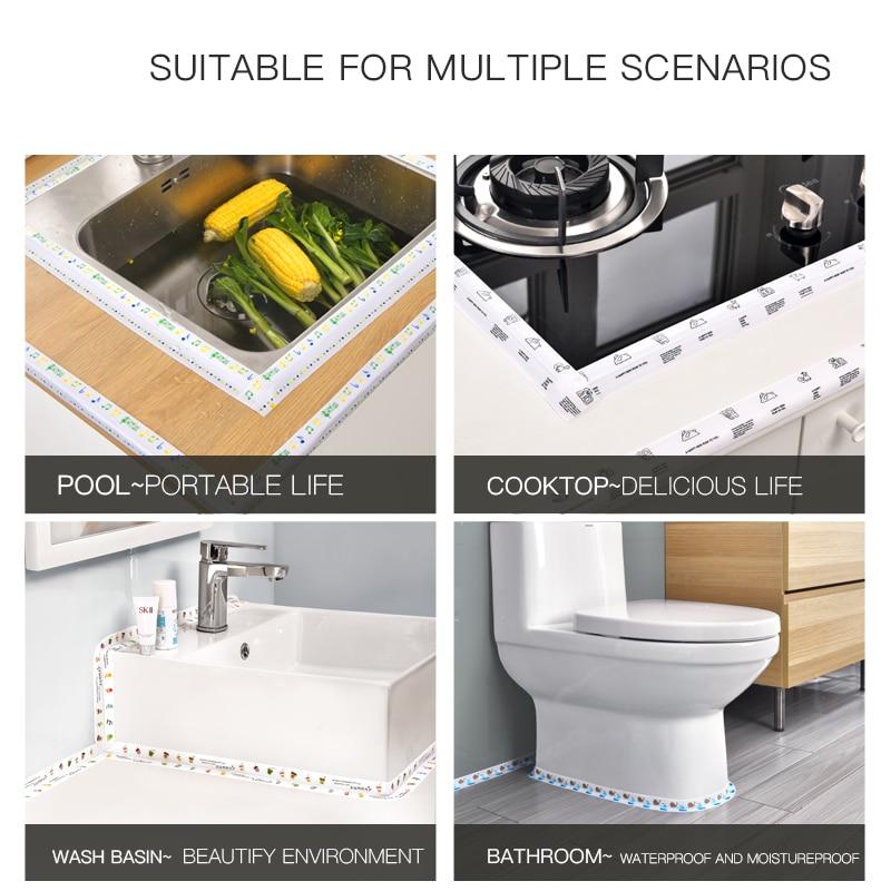 Kitchen Sink Waterproof Sticker Anti-mold Waterproof Tape Bathroom Countertop Toilet Gap Self-adhesive Seam Stickers 6