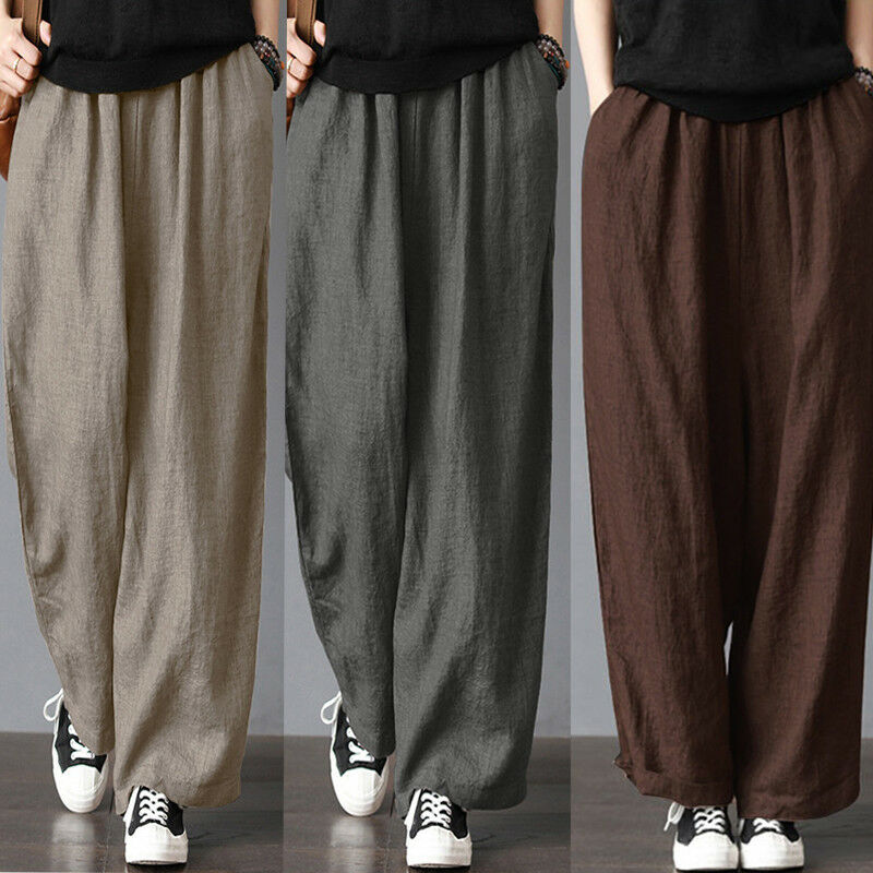 Men's Cotton Linen Wide Leg Pants Summer Loose Casual Fitness Straight Stretch Bloomers Trousers Harem Plus Size Clothing S-3XL