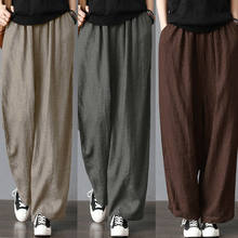 Calças de linho masculinas, calças largas de linho de algodão para homens, moda verão, casual, fitness, stretch, plus size, S-3XL