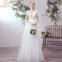 Женское свадебное платье с кружевной аппликацией коротким рукавом