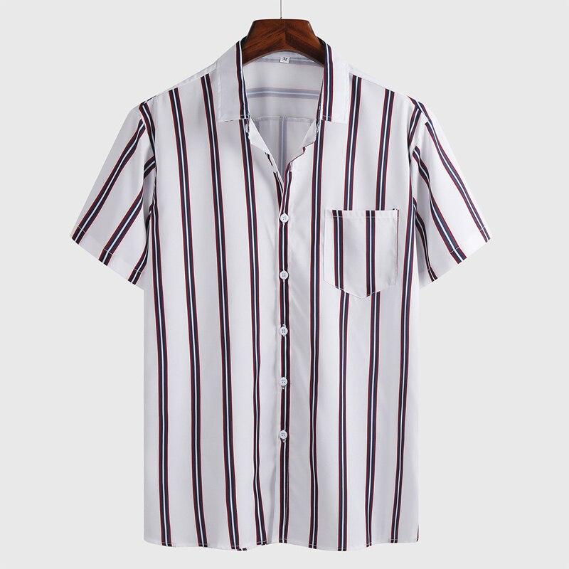Men Shirt Short Sleeve 2020 Summer Striped Dress shirts for men Formal Casual Slim Fit Pocket High Quality Business camisas