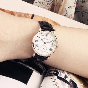 Image 3 - 2020 SANDA ساعة ذهبية وردية للنساء فستان ساعة ماركة الإناث الجلود التقويم ساعة الكوارتز السيدات ساعة اليد Relogio Feminino
