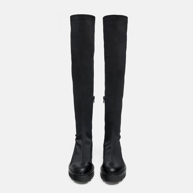 Same DesignWomen's over-the-knee Boots Elastic Slim Boots 2020 Winter  New Round  Toe Zipper High Boots 3