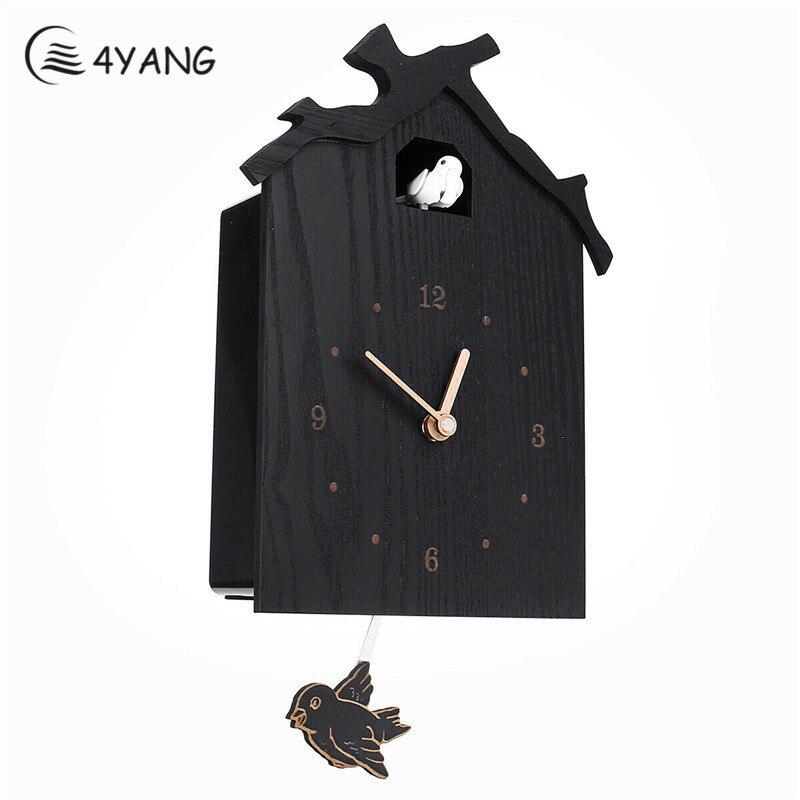 Noir Antique en bois coucou horloge temps cloche balançoire alarme montre mur salon calme décor à la maison horloge créative