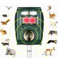 Novo repelente solar ultra-sônico repeller animal pir sensor jardim ao ar livre pragas rato pássaro gato cão morcego repelente manter os animais longe