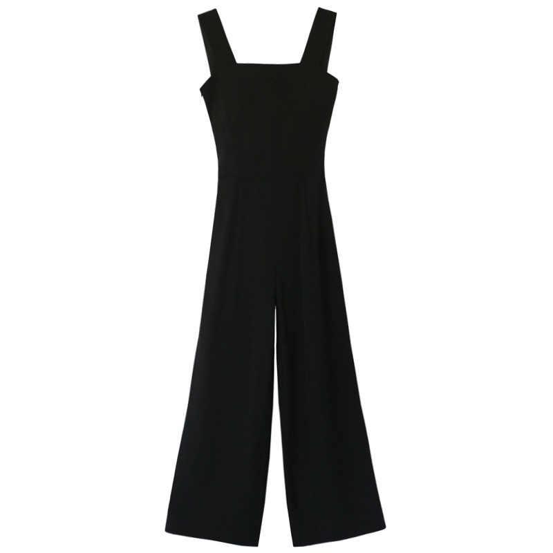 2020 frühling sommer frauen schwarz overall hohe taille open back baggy lange, breite bein overalls mode Casual Strampler Streetwear