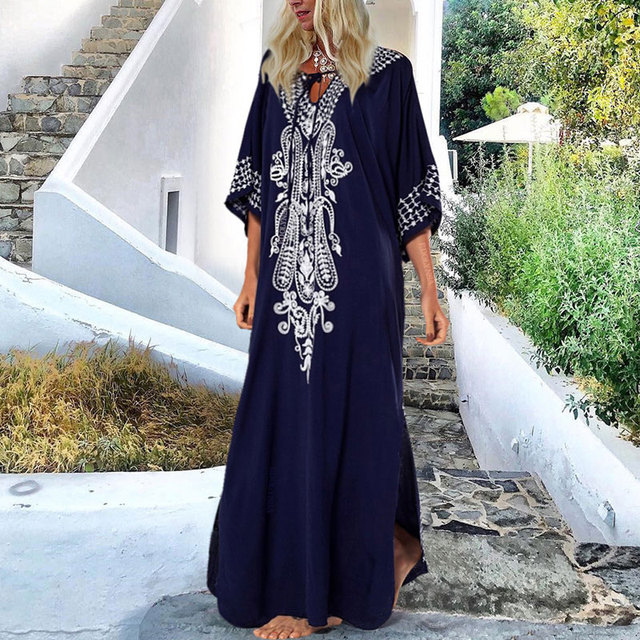 2021 Indie Folk Lace Up V-Neck Batwing Sleeve Summer Beach Dress  Tunic Women Beachwear kaftan Maxi Dress Robe Sarong N775 6