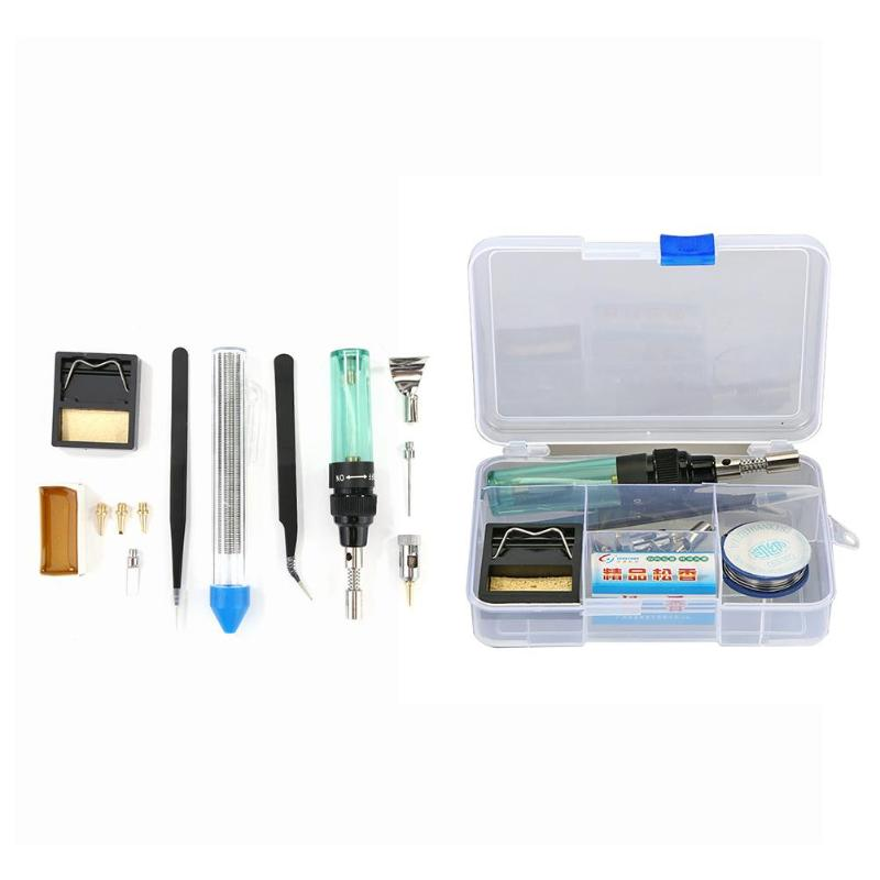 Portable Triad Butane Gas Electric Soldering Iron Set Universal Solder Iron Burning Soldering Pen Set Welding Tips Kit