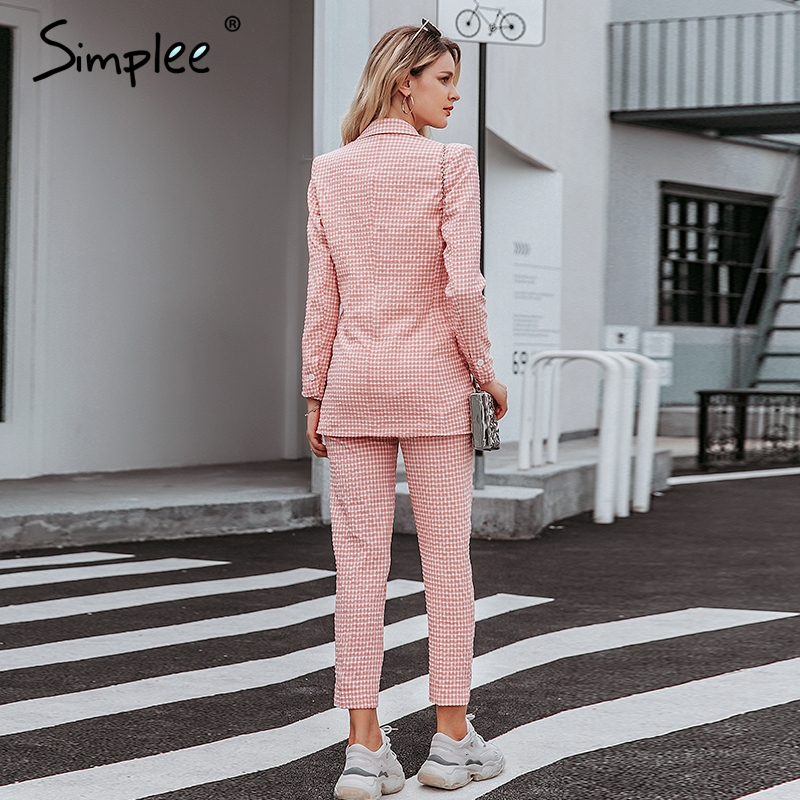 Simplee pink plaid women blazer pockets single button Long sleeve female casual coats Office ladies outerwear