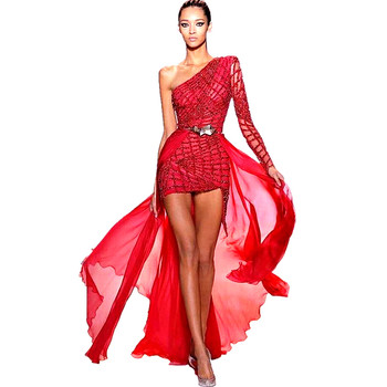 цена на One Shoulder Knee Length Prom Dresses 2020 Cheap Sequined Evening Dresses Red Sparkly Beading Long Sleeves Formal Party Dress