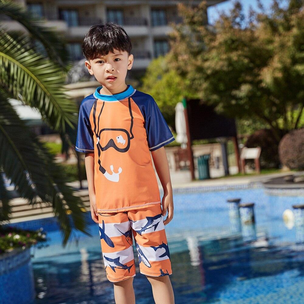 2019 New Style Hot Sales Split Bathing Suit Short Sleeve Shorts Stand Collar Cartoon Hot Springs Beach BOY'S KID'S Swimwear
