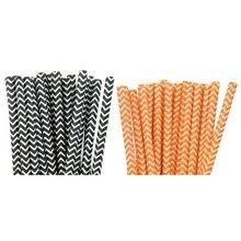 200 шт Ретро полосатые винтажные бумажные питьевые соломки для дней рождения 8 мешков(100 шт оранжевый и 100 шт черный