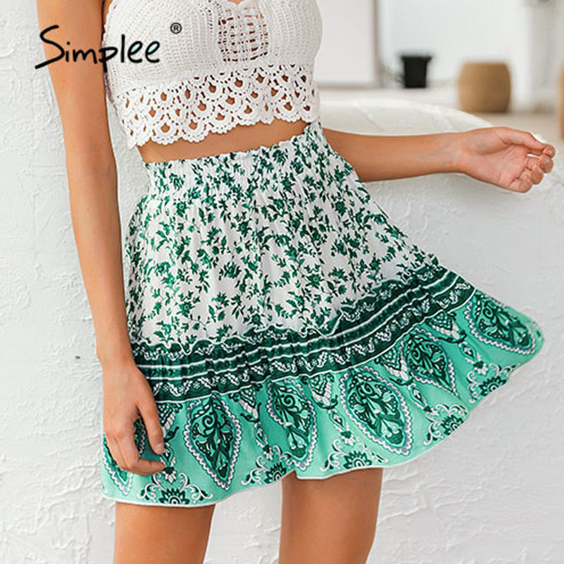 Simplee Floral Print Bohemian Women Skirt Elastic High Waist A-line Female Short Mini Skirt Casual Holiday Summer Ladies Skirts