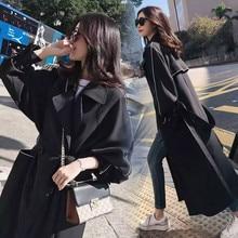 Belt Outerwear Windbreaker Trench-Coat Maxi Female Korean Long Women Bella Autumn Double-Breasted