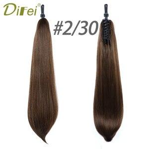 Длинные волнистые накладные волосы DIFEI, 24 дюйма, термостойкие синтетические накладные пряди хвостиков с когтями