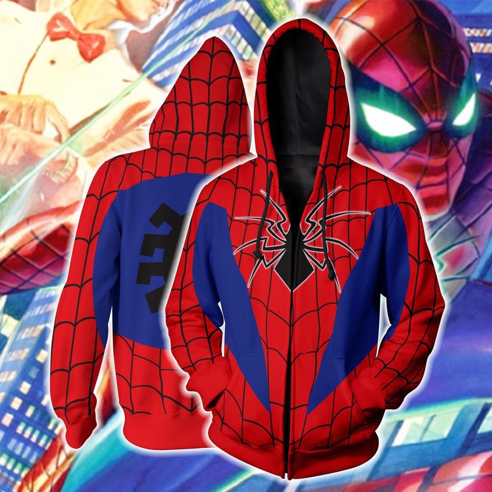 Superhero Venom Spiderman 3D Printed Hoodies Men Sweatshirts Cosplay Spider Man Streetwear Fashion Zipper Hoodie Zip-Up Coats
