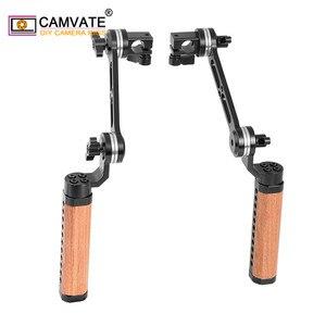 Image 3 - Camvate 2 peças câmera alça de madeira ajustável aperto com roseta arri m6 rosca de montagem & 15mm única haste braçadeira & extensão braço