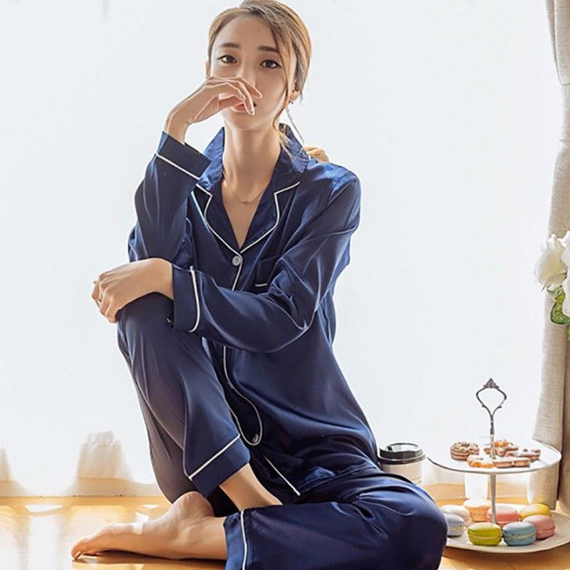 Hot Sale Fashion Striped Single-breasted Long Sleeve Two Piece Sets Spring Autumn Loose Silk Satin Pajamas Set Women Sleepwear